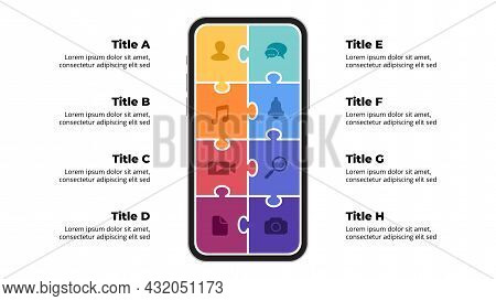 Smartphone Mock Up. Infographic Slide Template. 8 Steps Puzzle Banner. Mobile Phone. Electronic Devi