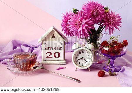 Calendar For September 20 : The Name Of The Month In English, Cubes With The Number 20, A Bouquet Of
