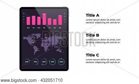 Tablet Mock Up. Infographic Slide Template. World Map. Financial Report. Chart And Percentage Diagra