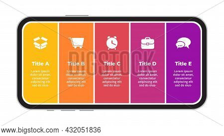 Smartphone Mock Up. Mobile Phone. Infographic Slide Template. Electronic Device Presentation. 5 Opti