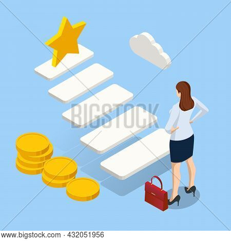 Isometric Growth Opportunity And Success Stair. Business Woman Standing On Ladder Up Go To Success I