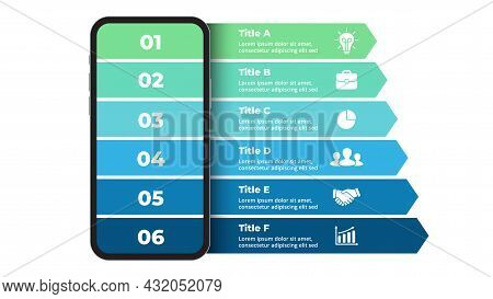 Smartphone Mock Up. Infographic Slide Template. 6 Steps Arrows Chart. Electronic Device Presentation