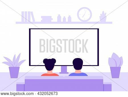 Children Sitting On Sofa At Home And Watching Tv, Back View. Kids Boy And Girl Sit In Living Room. R