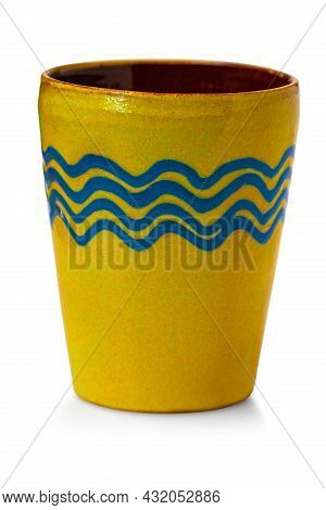 Crafted Handmade Yellow Cup Isolated On White Background