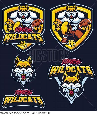 Mascot Illustration With Wildcat In 5 Different Versions.