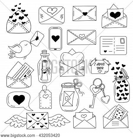 Love Messages, Envelopes With Heart Icon Set In Doodle Style. Happy Valentine's Day, Romance Simple