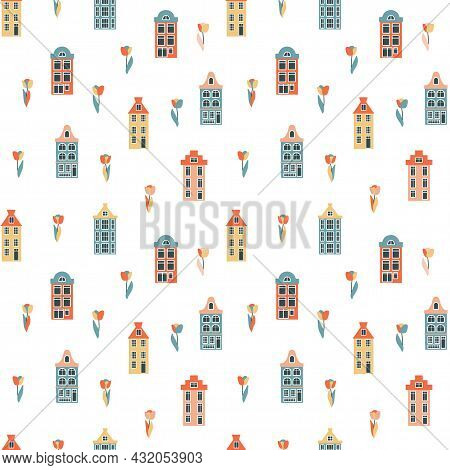Seamless Pattern With Historic Colorful Dutch Houses With Tulips, Historic Narrow Buildings, Archite