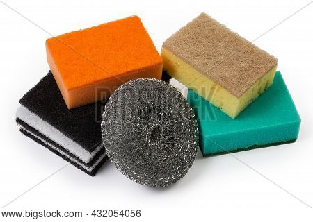Kitchen Hard Flat Fleecy And Colored Synthetic Sponges With Harder Layer, Metal Sponge Made Of Steel