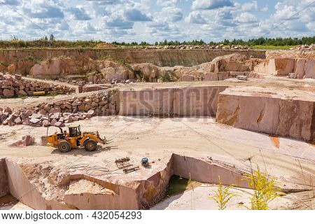 Part Of Operating Quarry For The Extraction Of Red Granite And Quarry Forklift Loader In Him At Summ