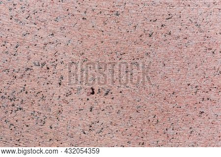 Flat Side Of The Block Of Pink Granite With Traces Of Working Of The Stone Cutting Tool