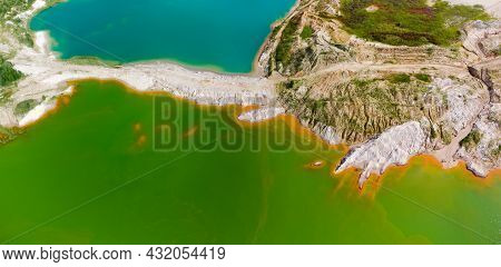 Colored Lakes And Old Waste Rock Dumps On The Site Of The Abandoned Ilmenite Quarry, Aerial Panorami