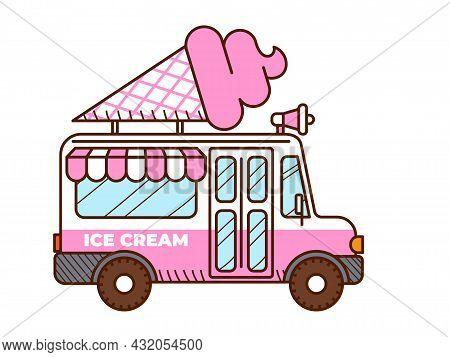 Ice Cream Van Icon. Food Truck Isolated