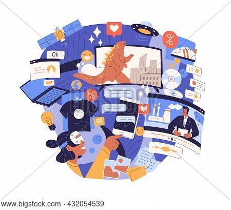 Information Overload And Excess Concept. Surfing Internet With Lot Of Info Chaos, Flow Of Digital Tr