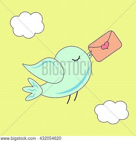 Cute Bird Is Flying With Love Letter. Valentine Card.