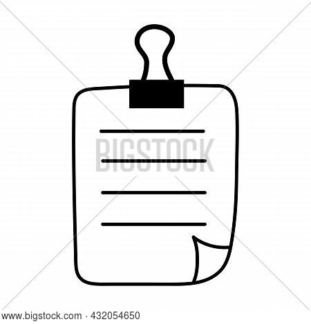 Note Paper Sticker Icon With Curved Corner And Push Button. Vector Illustration.