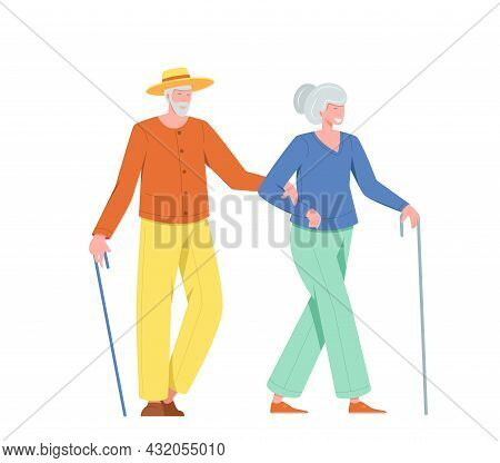 Couple Old People Man And Woman With A Cane Walking Outdoor. Vector Illustration Of Elderly People,