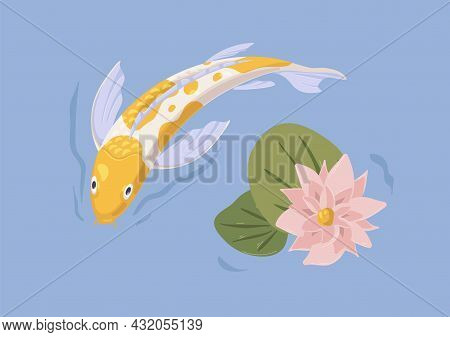 Gold Japanese Koi Fish Swimming In Pond With Flower. Asian Decorative Tranquil Carp In Japan Water G
