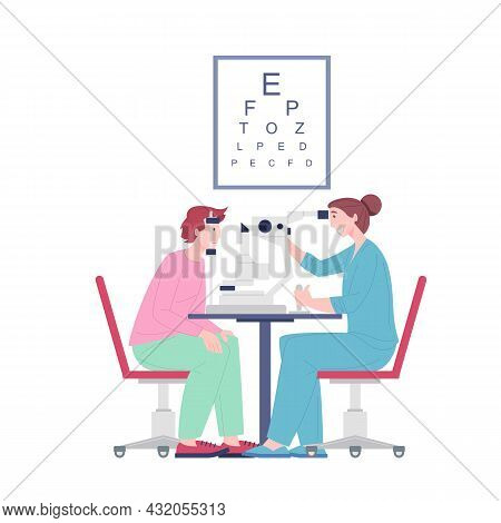 Ophthalmologist Doctor Examining Eyesight Vision Of Patient, Oculist Checkup Visual Acuity Man. Eyes