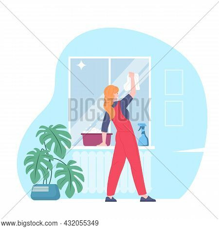 Female Cleaner Washes Window. Housekeeper Cleans Windows With Spray Detergent. Home Cleaning Service
