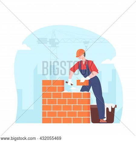 Builder Puts Brick Wall. Bricklayer On Construction Site Vector Illustration.