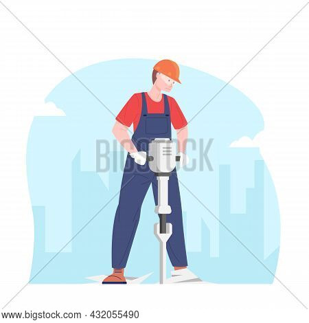 Male Builder Working With Jackhammer. Worker Electric Jackhammer. Concept Road Works And Repair, Vec