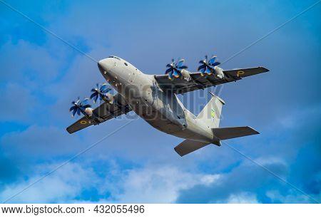 Ukraine, Kyiv - August 18, 2021: Antonov An-70 Military Cargo Plane. Large Ukrainian Four-propeller-