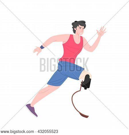Running Disabled Man With High-tech Prosthetic Limbs. Flat Cartoon Vector Illustration.