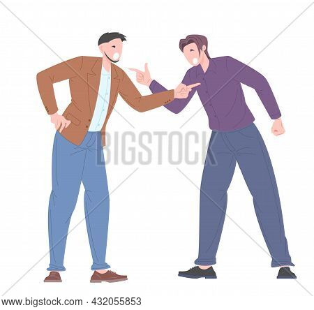 Social Bullying Concept Between Office Workers. Young People Argue Among Themselves, Accusing Each O