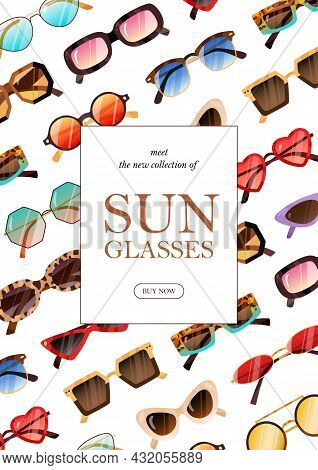 Ad Poster Design For Fashion Sunglasses Promotion. Advertising Flyer Template With Modern Sun Glasse