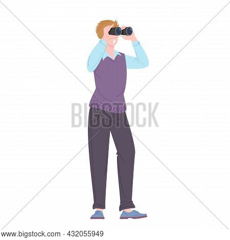 Young Man Looking Through Binoculars Standing. Plagiarism Or Idea Search Concept. Flat Vector Illust