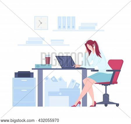 Exhausted Female Office Worker Sitting At The Table, Burnout Concept Vector Illustration