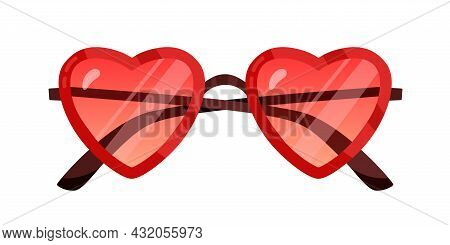 Funny Red Sunglasses With Heart-shaped Frame. Funky Party Glasses. Valentine Design Eyeglasses. Fron