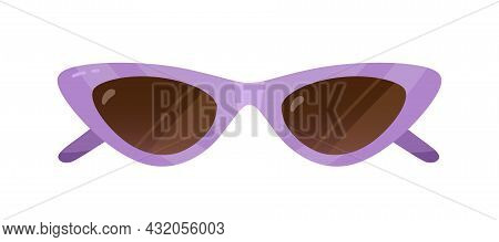 Cat Eyes Sunglasses In 50s Retro Style. Fashion Summer Sun Glasses. Stylish Vintage Women Accessory.