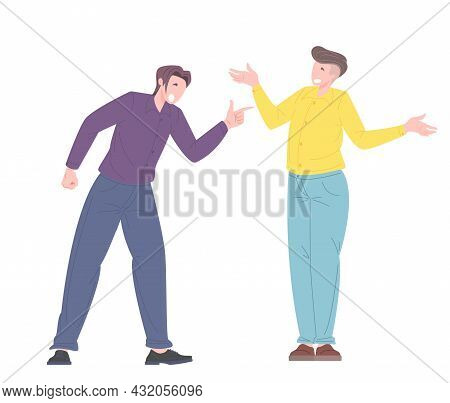 Social Bullying Concept Between Office Workers. Vector Illustration In Flat Style Of Male Worker Get