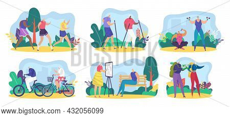 Elderly Senior Character Activity, Vector Illustration, Old Man Woman Active Lifestyle Set, Grandmot