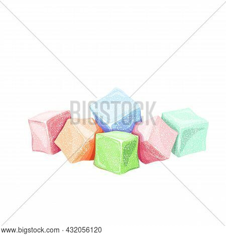 Turkish Delight. Colorful Rahat Locum, Sweet Oriental Delight In Powered Sugar, Vector Illustration.