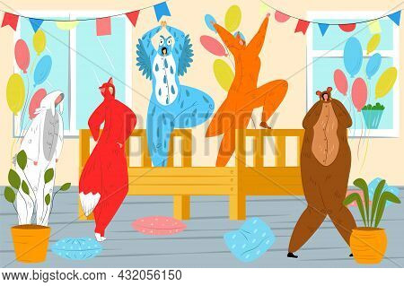 Funny Party With Animal Kigurumi, Vector Illustration. Young Man Woman Character Have Fun In Pajama