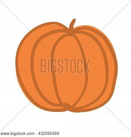 Yellow Autumn Pumpkin, Handdraw Doodle Vector Illustration