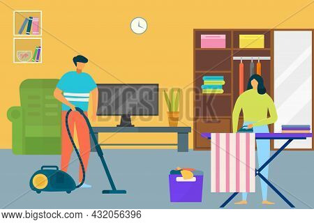 Woman Man Cleaning House, Vector Illustration. Flat Couple Person Character Make Household Work At H