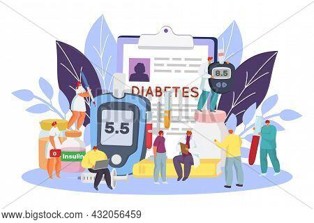 Diabetes Concept, Sugar Level, Vector Illustration, Flat Tiny Man Woman Character Use Insulin Medici