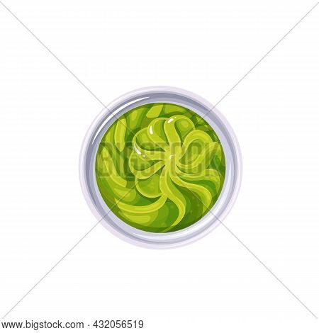 Wasabi Sauce In Bowl. Colored Illustration Of Wasabi Top View.