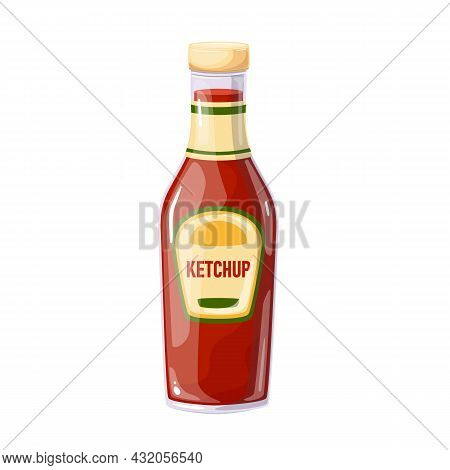 Ketchup In Bottle. Colored Illustration In Cartoon Style.