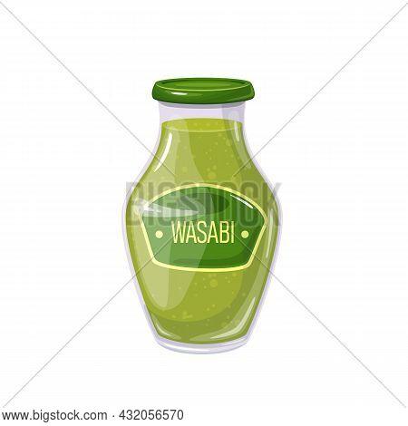 Wasabi Sauce In Jar. Colored Illustration In Cartoon Style.