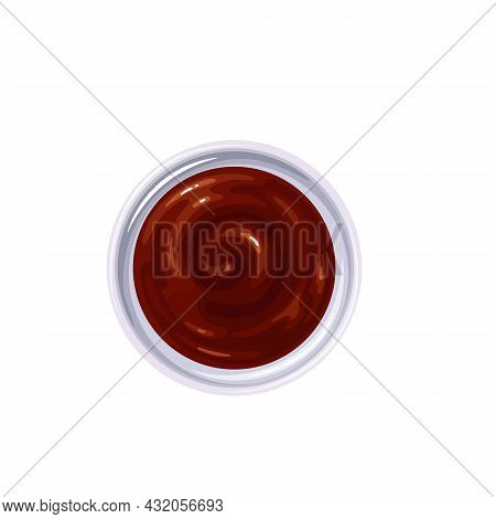 Bbq Sauce In Bowl. Colored Illustration Of Barbecue Sauce Top View.