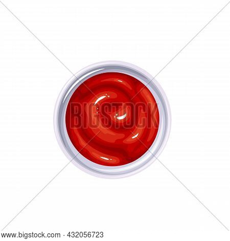 Ketchup In Bowl. Colored Illustration Of Ketchup Sauce Top View.