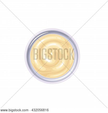 Mayonnaise Sauce In Bowl. Colored Illustration Of Mayonnaise Top View.