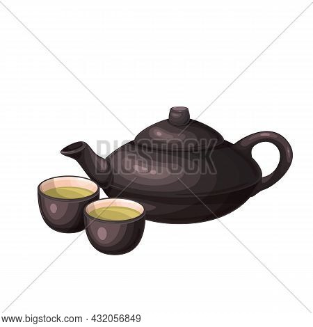 Chinese Or Japanese Teapot And Teacups. Teapot And Teacups , Chinese, Japanese Tea Ceremony Vector I