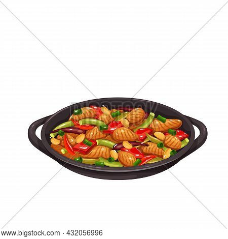 Chicken Kung Pao. Chinese Cuisine Icon. Asian Food Vector Illustration.