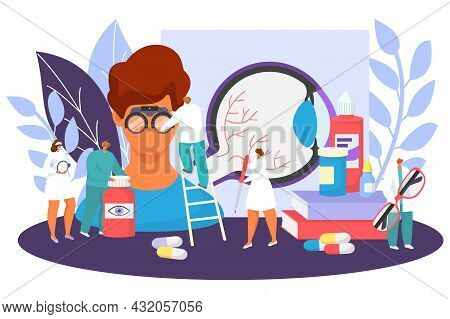 Ophthalmology Medical Care Concept, Vector Illustration, Tiny Ophthalmologist Doctor Character Test