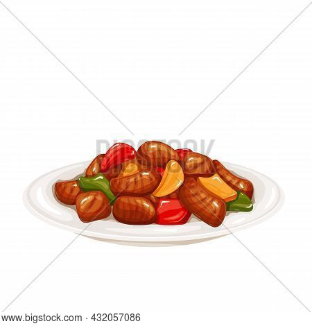 Sweet And Sour Pork. Chinese Cuisine Vector Illustration.